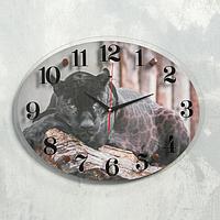 "Часы настенные ""Черный ягуар"", плавный ход"