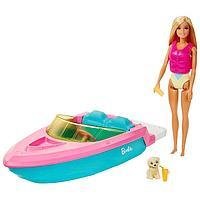 Кукла «Барби», в купальнике, с лодкой, спасательным жилетом и щенком