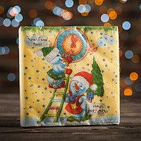 Новогодние салфетки бумажные Fresco 'Снеговички-часовички', 2 слоя, 33*33 см, 20 листов