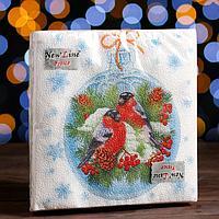 Новогодние салфетки бумажные New Line Fresco 'Зимние птички', 33х33 см, 2 слоя