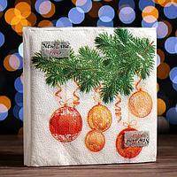 Новогодние салфетки бумажные New Line Fresco 'Шары на ветке', 33х33 см, 2 слоя