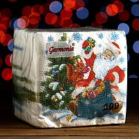 Новогодние салфетки бумажные Гармония цвета многоцветие 'Дед Мороз', 24*24 см 100 листов