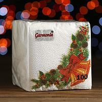 Новогодние салфетки бумажные Гармония цвета многоцветие 'Новогодний кант', 24*24 см 100 листов