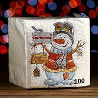 Новогодние салфетки бумажные Гармония цвета многоцветие 'Снеговичок', 24*24 см 100 листов
