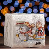 Новогодние салфетки бумажные Гармония цвета 'Новогодняя почта', 24х24 см, 100 листов