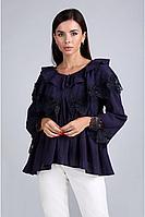 Женская летняя кружевная синяя нарядная блуза Таир-Гранд 62380 т.синий 46р.