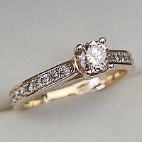 Золотое кольцо с бриллиантами 0.61Сt SI2/L EX-Cut, фото 1