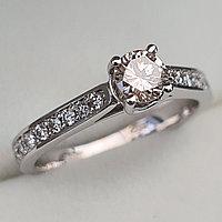 Золотое кольцо с бриллиантами 0.62Сt VS2/M EX-Cut, фото 1