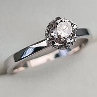 Золотое кольцо с бриллиантом 0,42Сt SI1/K, EX, фото 1