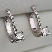 Золотые серьги с бриллиантами 0.75Ct SI2/J, EX-Cut, фото 1