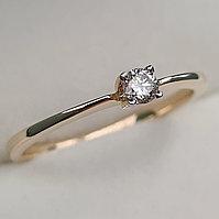 Золотое кольцо с бриллиантами 0.10Сt VS2/H, VG- Cut, фото 1