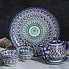 Набор чайный 9 предметов Риштанская Керамика (Чайник 0,8л,пиалы- 0,2)