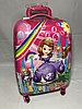 Детский пластиковый чемодан на колесах для девочек ,5-8 лет. Высота 46 см, ширина 31 см, глубина 21 см.