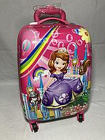 Детский пластиковый чемодан на колесах для девочек ,5-8 лет. Высота 46 см, ширина 31 см, глубина 21 см., фото 1
