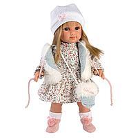 Кукла Елена 35см, блондинка в белом меховом жилете (LLORENS, Испания)