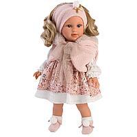Кукла Люсия 40см, блондинка в розовом манто (LLORENS, Испания)