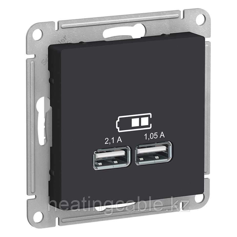 Atlas Design USB розетка А+А, 5В/2,1А,2*5В/1,05А, МЕХАНИЗМ,  скрытая установка карбон
