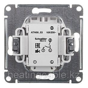 Atlas Design выключатель 2- клавишный c подсветкой МЕХАНИЗМ, скрытая установка карбон, фото 2