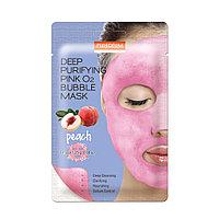 "Тканевая маска для лица с экстрактом куркумы (Purederm Deep Purifying Pink O2 Bubble Mask ""Peach"")"