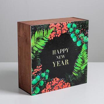 Ящик деревянный «Новогодняя ботаника», 25 × 25 × 10 см