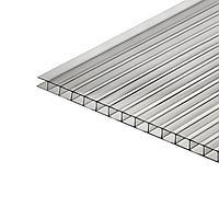 Сотовый поликарбонат 4 мм, 2,1 × 6 м, УФ, прозрачный