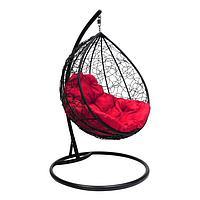 Подвесное кресло КОКОН «Капля» красная подушка, стойка