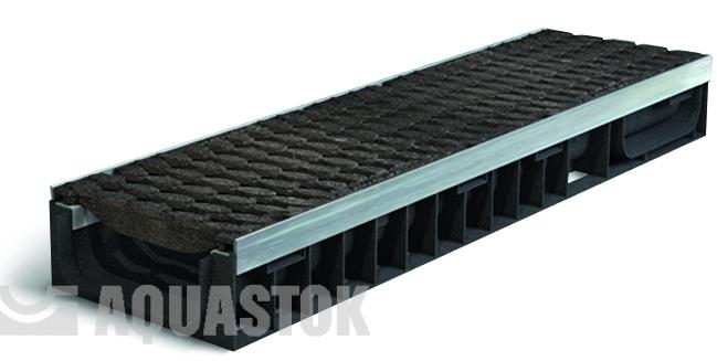 Лоток водоотводный пластиковый Aqua-Stok Master 100 (решетка - пластик, 12 тонн)