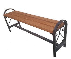 Уличная скамейка без спинки с узором и поручнями БС-3