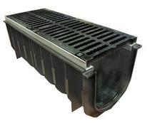 Лоток водоотводный пластиковый с чугунной решеткой DN100 (решетка - чугун, класс нагрузки С)