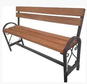 Уличная скамейка со спинкой с узором и поручнями БС-4