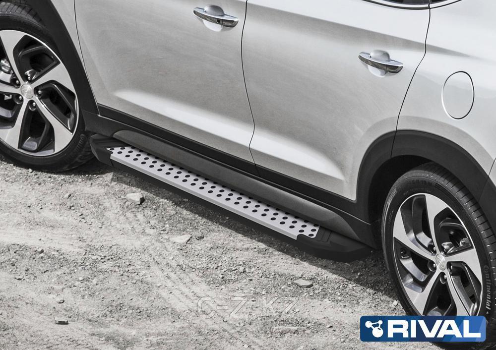 """Порог-площадка """"Bmw-Style"""" D180AL + комплект крепежа, Hyundai Santa Fe 2021-"""