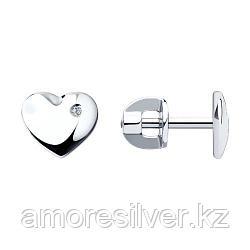 Серьги SOKOLOV серебро с родием, бриллиант, love 87020003