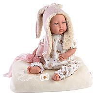 Пупс Малышка 42см в ушастой курточке, с одеялком (LLORENS, Испания)