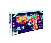 Прозрачный светящийся пистолет с шестеренками
