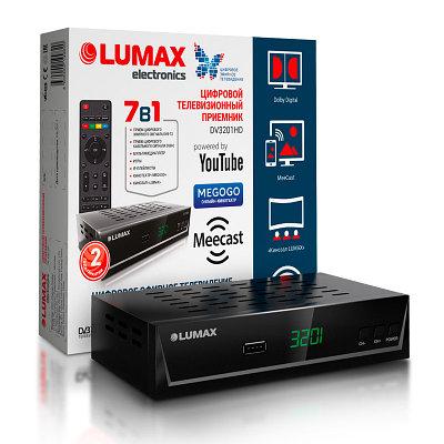 Цифровая TV-приставка LUMAX DV3201HD, DVB-T/T2, HDMI, USB +RC - Черный