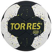 Мяч гандбольный TORRES PRO, размер 2, ПУ, гибридная сшивка, цвет чёрный/белый/жёлтый