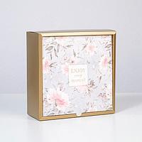 Коробка складная «Цветочная», 25 × 25 × 10 см