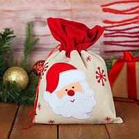 Мешок для подарков 'Дед Мороз и снежинки' на завязках, 29 х 22 см