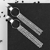 Серьги висячие со стразами 'Голливуд' кольцо с нитями, цвет белый в серебре