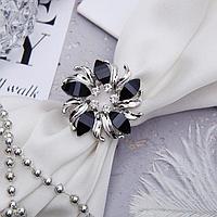 Кольцо для платка 'Цветок', круг, цвет чёрный в серебре