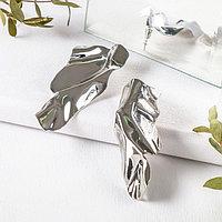 Серьги металл 'Атмосфера' абстракция, цвет серебро