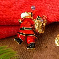 Брошь новогодняя 'Дед Мороз' с мешком, цветная в золоте