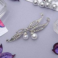 Брошь 'Вишневая веточка', цвет белый в серебре
