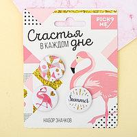 Набор значков 'Фламинго' 3шт.