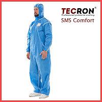 Одноразовые защитный комбинезоны TECRON SMS Comfort Blue (SMMS 55г., швы изолированы)
