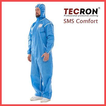 Одноразовые защитный комбинезоны TECRON™ SMS Comfort Blue (SMMS 55г., швы изолированы)