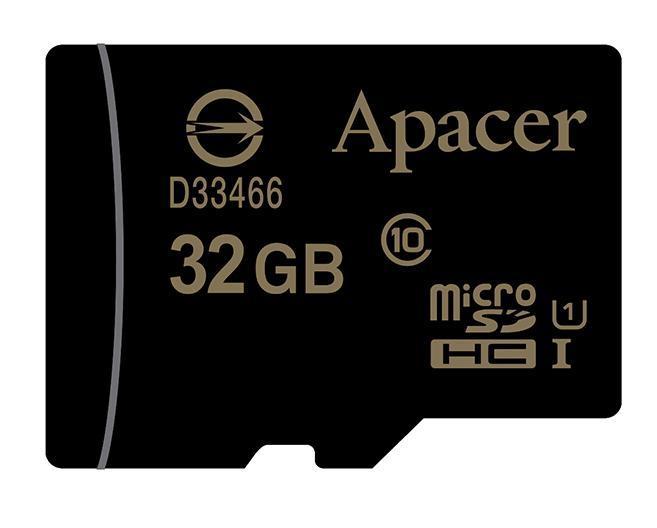 Карта памяти Micro SDHC 32Gb Apacer, Class 10 UHS-I U1, адаптер, 45 Мбайт/с