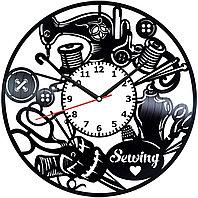 Настенные часы Швейное ателье, подарок швее, портному, фанатам, любителям, 2047