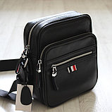 Мужская сумка через плечо, барсетка из натуральной кожи, фото 2