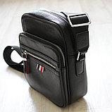 Мужская сумка через плечо, барсетка из натуральной кожи, фото 5